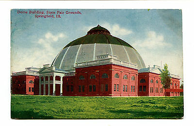 Vintage Postcard SPRINGFIELD IL STATE FAIR GROUNDS Dome Building 1909