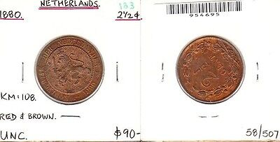 Netherlands - 1800 2 1/2 Cent. KM:108. Red & brown. UNC.