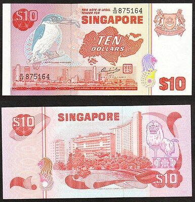 Singapore - 1979 10 Dollar. P.11a. Bird series. LCF. UNC.