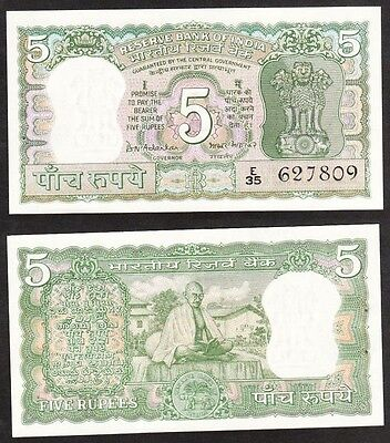 India - ND 1970 5 Rupee. P.54. Sig 77. Staple holes. UNC.