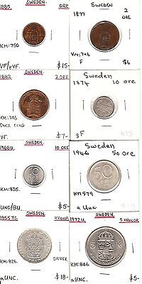 Sweden 1870's 8 different coins Retail value $81