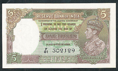 India - ND 1937 5 Rupee. P.18a. Usual holes. UNC.
