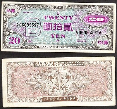 Japan ND(1945) 20 Yen Allied Military Currency Pick-73-B Crisp EF +