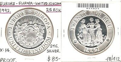 Europe - 1992 25 Ecu. X:14. Stg Silver. PROOF.