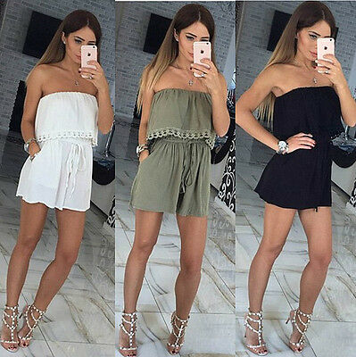 New Womens Strapless Off Shoulder Playsuit Ladies Casual Party Jumpsuit Romper