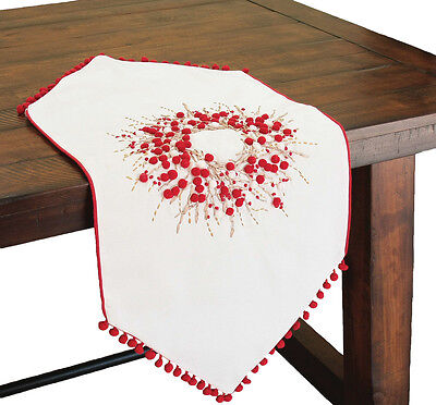Xia Home Fashions Holiday Berry Wreath Runner