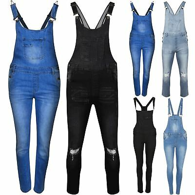 Ladies Light Black Wash Jeans Faded Womens Slim Ripped Dungarees Denim Jumpsuit