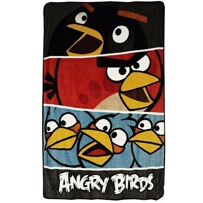 nEw ANGRY BIRDS TWIN PLUSH BLANKET - Video Game Bedding Bold Colors Bed Cover