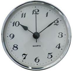 66mm Clock Suitable for Caravans, Motorhomes & Boats, Arabic with silver bezel.