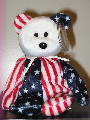 Ty Beanie Baby ~ SPANGLE the White Face Bear ~ MINT with MINT TAGS ~ RETIRED