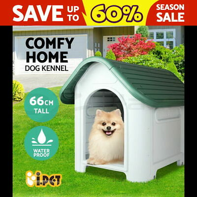 Pet Dog Kennel Weatherproof Plastic Outdoor Indoor Puppy Garden House Medium