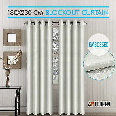 Blockout Curtain 180cm x 230cm  Embossed Eyelet Drape 3 Layers Darkening Room
