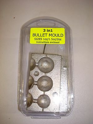 3 in 1 DRILLED BULLET BALL WEIGHT MOULD, 1oz, 1.5oz and 2oz BALL WEIGHTS