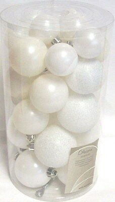 30 Luxury Shatterproof Christmas Baubles Tree Decorations Winter Pearl White