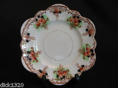 "ART DECO MELBA CHINA SCALLOPED 7.5"" DESSERT PLATE RUST FLORAL  c.1930's EX"