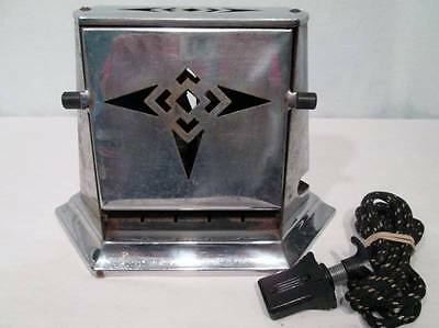 Antique Vtg Toaster SuperLectric #22 Chrome Art Deco Cut Outs 1930s Works Cord