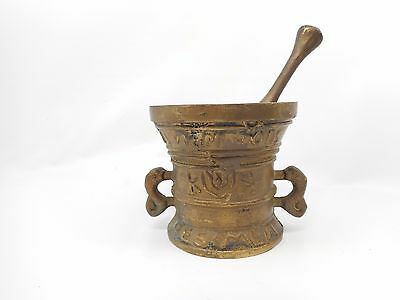 """Antique Brass Mortar and Pestle Set Large Size - 4"""" Tall x 4.5"""" Wide - LOOK!"""