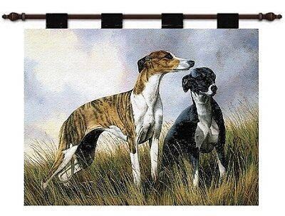 GREYHOUND - WHIPPET DOG ART TAPESTRY WALL HANGING 31x25