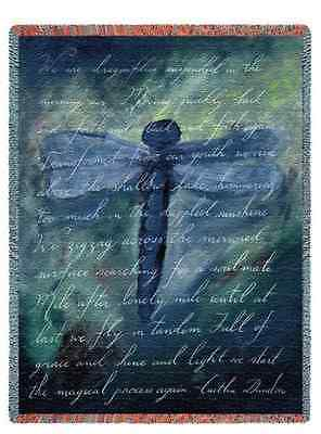 INSPIRATIONAL DRAGONFLY POEM TAPESTRY THROW AFGHAN BLANKET 53x70