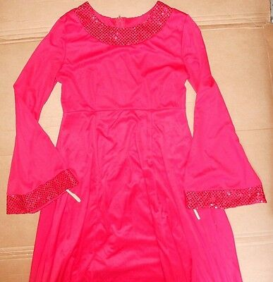 NWOT Sequin Latin Ballroom Dress Salsa Fringed Ch//Ladies Szs Fushia Velvet strap