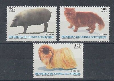 Equatorial Guinea 1995 Animals Set (3) Uhm/mnh Pig Cat Dog (Id:802/d41451)