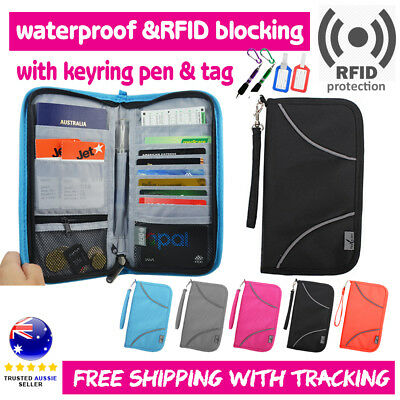 RFID Blocking Anti Scan Travel Wallet Passport Credit Card Holder Pouch Pen Tag
