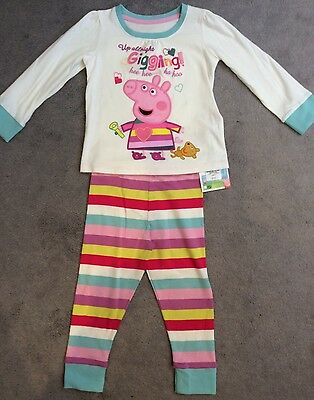M&S Peppa Pig Multi- Coloured Pyjamas In Pure Cotton With Long Sleeves - Bnwt