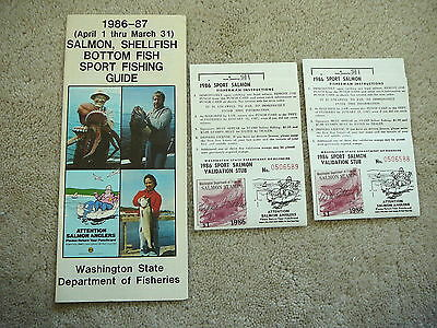 WASHINGTON - 2 Vintage 1986 SALMON STAMPS on PUNCH CARDS & SPORT FISHING GUIDE