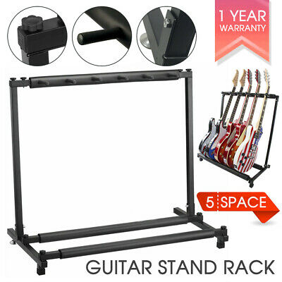 Stylish Guitar Stand Tidy Storage Rack Fits 5 Guitars Metal Padded Foam