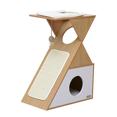Cat Scratching Tree Kitten Condo Furniture Sisal Mat Pet Play House w/ Toy Cave