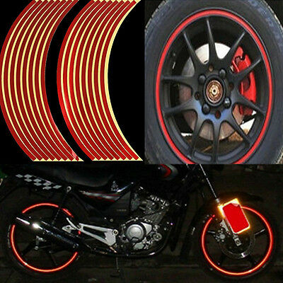 Red 16 Strips Reflective Tape Motorcycle Car Wheel RIM Stripe Adhesive Sticker