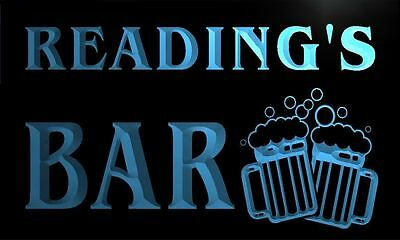 w010277-b READING Name Home Bar Pub Beer Mugs Cheers Neon Light Sign