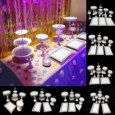 12pcs/Set Crystal White Metal Cake Holder Cupcake Stand Birthday Wedding Display