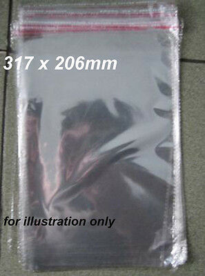 100 Clear Cello Plastic Bags Reseal Packaging 317mm x 206mm