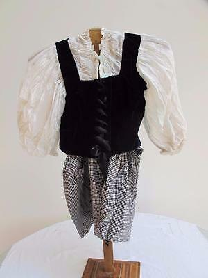 VINTAGE 1930's YOUNG GIRL'S NAVY BLUE & WHITE FANCY DRESS COSTUME - MILK MAID
