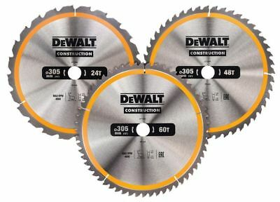 DEWALT DT1964 305mm 3 Pack TC Saw Blades (1 x 24, 1 x 48, 1 x 60T)