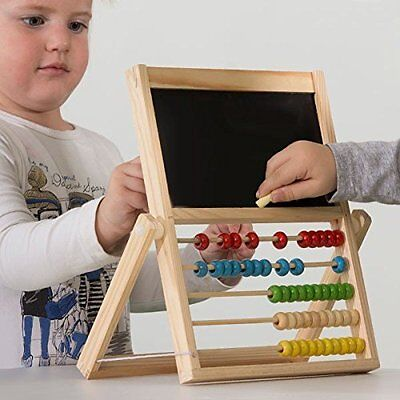 2 in 1 Classic Wooden Bead Abacus & Blackboard Childs Educational Learning Toy