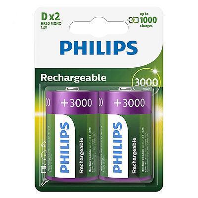 2 x Philips D Size 3000 mAh Rechargeable Batteries LR20
