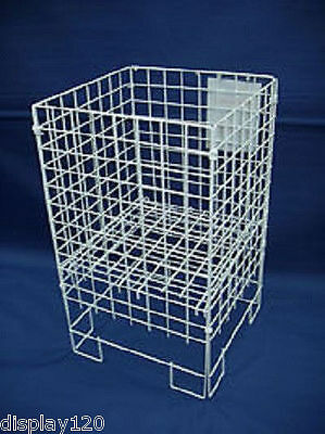 WHITE Dump Bin Basket Retail Merchandising Display Storage Bin LARGE SMALL