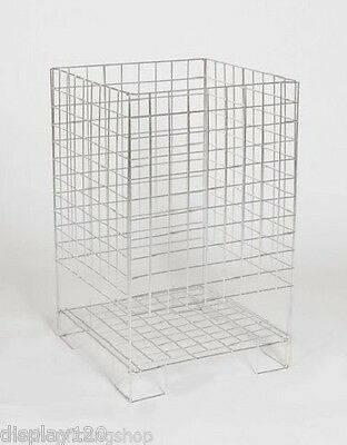 Square Silver Zinc Dump Basket Retail Merchandising Storage Bin LARGE SMALL