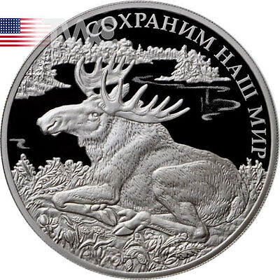 Russia 2015 3 rubles Elk Elch Moose Protect Our World 1oz Proof Silver Coin