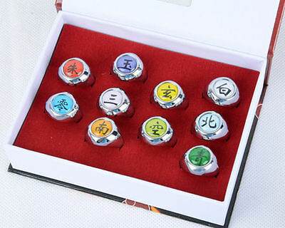 10 pcs Naruto Cosplay Rings NARUTO Akatsuki Member's Ring Pendant Set New in box