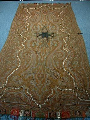 "ANTIQUE WOVEN WOOL PAISLEY LARGE SHAWL TABLECLOTH 60"" x 122"" ~ GORGEOUS!"