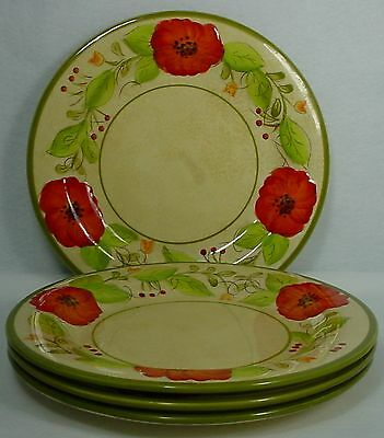 """PIER 1 china OLIVIA pattern DINNER PLATE 11"""" set of FOUR (4)"""