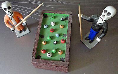 Day of the Dead Skeleton Pool Players Figurines Billiards Game Mexico Mexican