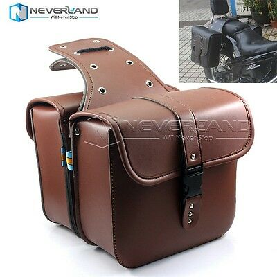 Motorcycle PU Leather Tool Saddle Bags For Harley Cruiser Chopper Bobber Brown