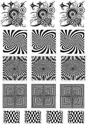 "Optical Illusions  5"" X 3-1/2"" Card Black Fused Glass Decals 16CC683"