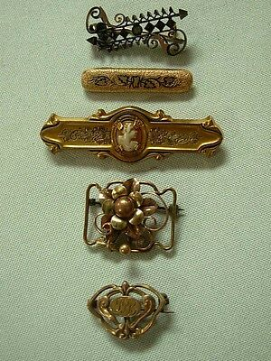 5 Antique Victorian Gold Tone Bar Pin & Watch Pin Brooches ~ 1 With Cameo