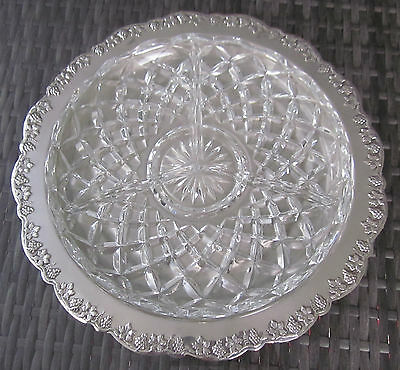 vintage RENOWN cut glass DIVIDED SERVING TRAY in silver plated HOLDER grape vine