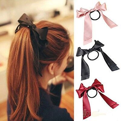 7 Colors 1X Women Scrunchie Ponytail Holder Satin Ribbon Bow Hair Band Hair Rope